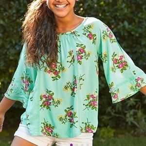 Matilda Jane miint green and coral top size 12